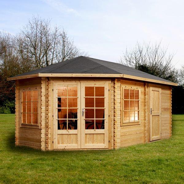 5m x 3m left sided greenacre corner lodge plus log cabin for Garden room 7m x 5m